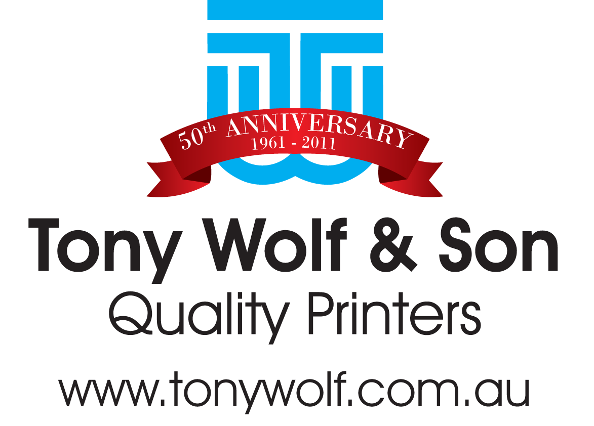 tony wolf printers 50th logo centred camden show